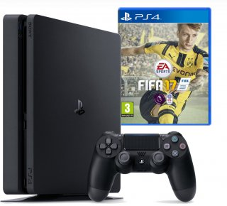 Диск Sony PlayStation 4 Slim 1TB POCTECT, черная (CUH-2008B) + игра FIFA 17
