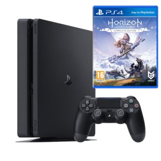 Диск Sony PlayStation 4 Slim 1TB, черная РОСТЕСТ (CUH-2208B) + Horizon Zero Dawn - Complete Edition