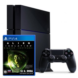 Диск Sony PlayStation 4 500Гб РОСТЕСТ, черная (PS4 RUS) + Alien: Isolation. Nostromo Edition