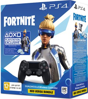 Диск Геймпад Sony Dualshock 4 v2 для PS4, чёрный (CUH-ZCT2E) + Fortnite Neo Versa Bundle