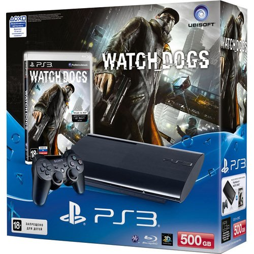 Главное изображение Sony PlayStation 3 Slim 500Gb + Watch Dogs (РОСТЕСТ) <small>(PS3)</small>