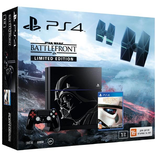 Главное изображение Sony PlayStation 4 1TB Black Limited Edition + Star Wars Battlefront Deluxe (CUH-1208B) РОСТЕСТ <small>(PS4)</small>