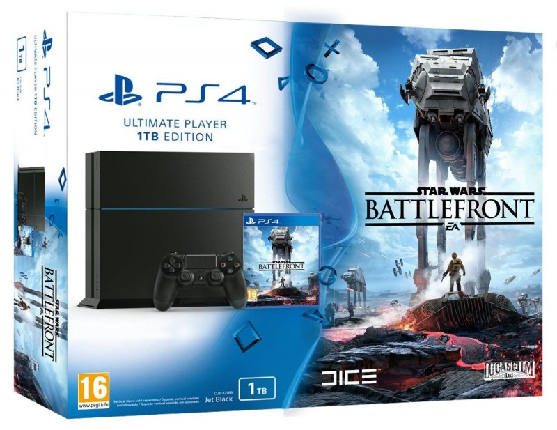 Главное изображение Sony PlayStation 4 1TB Black + Star Wars: Battlefront (CUH-1208B) РОСТЕСТ <small>(PS4)</small>