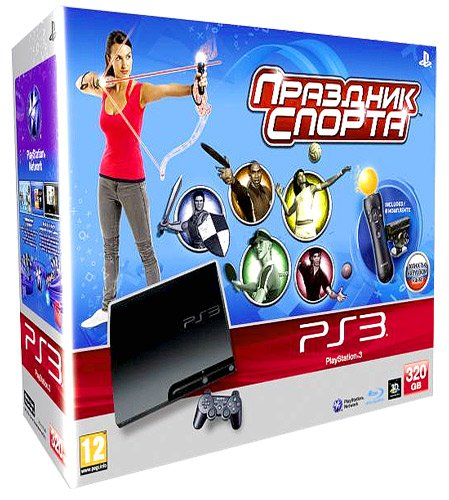 Главное изображение Sony PlayStation 3 Slim 320Gb (РОСТЕСТ) + Move Starter Pack + игра Праздник спорта <small>(PS3)</small>